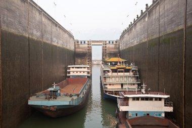 Ships in canal lock