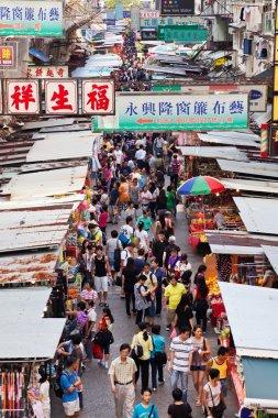 Vendors in a busy street at MongKok, Hong Kong