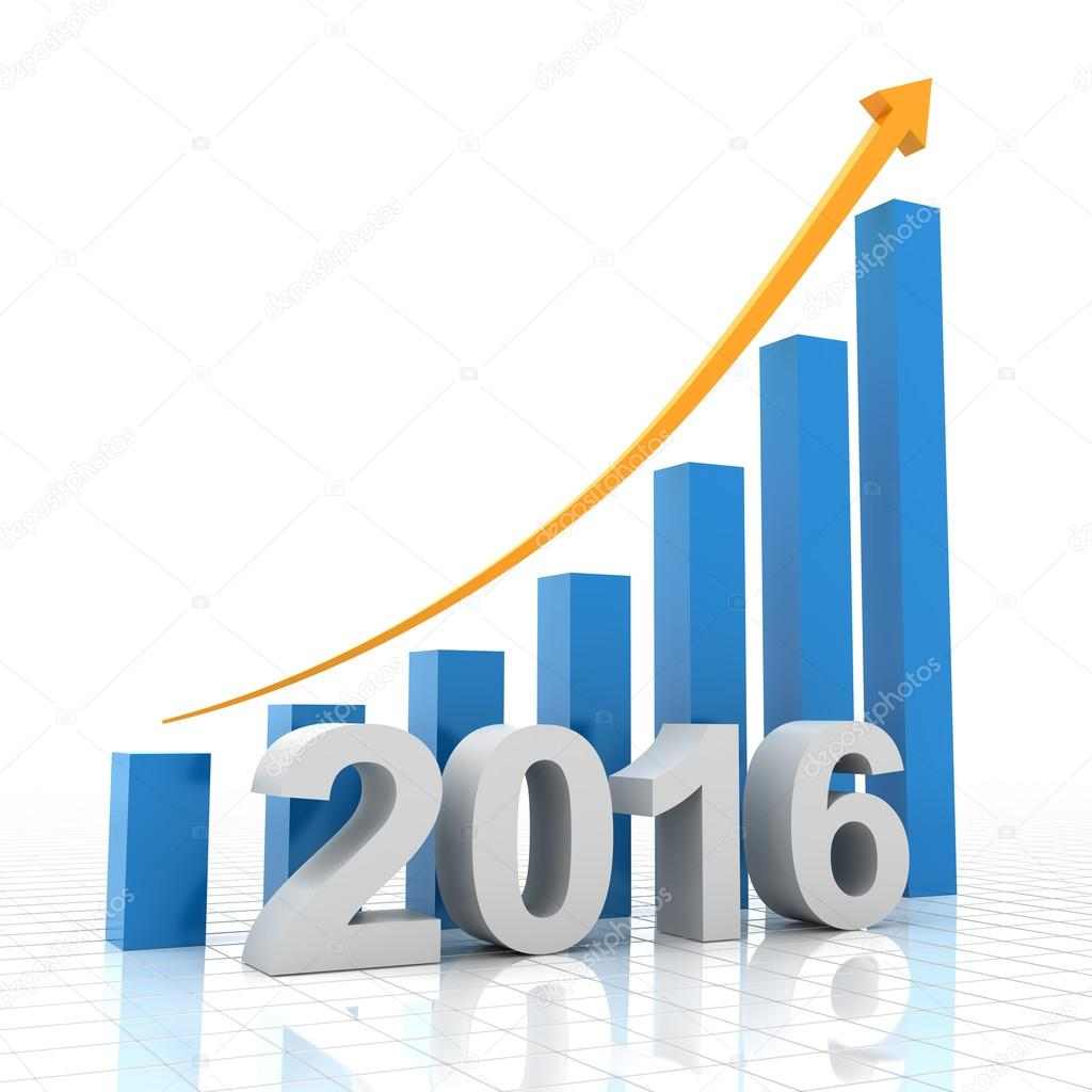 Growth chart for 2016, 3d render