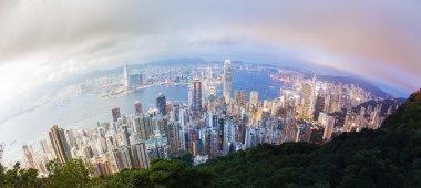 Panoramic day to night transition of Hong Kong