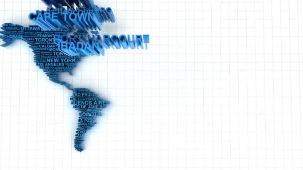 animace 3D mapa světa tvořená jména hlavních měst