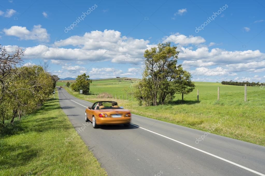 Car travelling on country road
