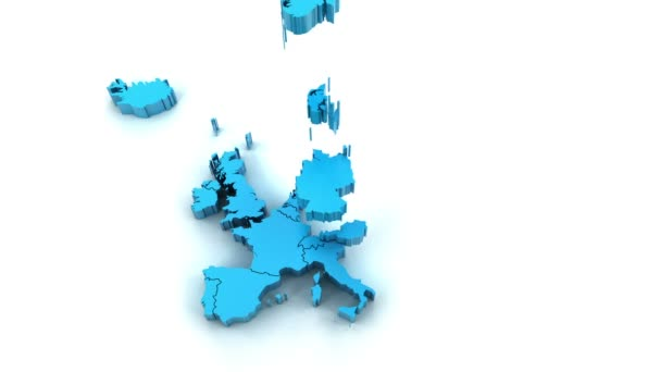 3D animace map Evropy, které jsou tvořeny jednotlivými zeměmi