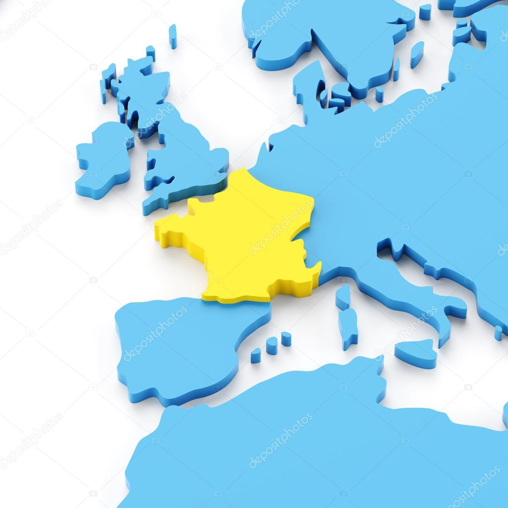 Map Of Europe With France Highlighted.Map Of France Stock Photo C Ymgerman 95762892