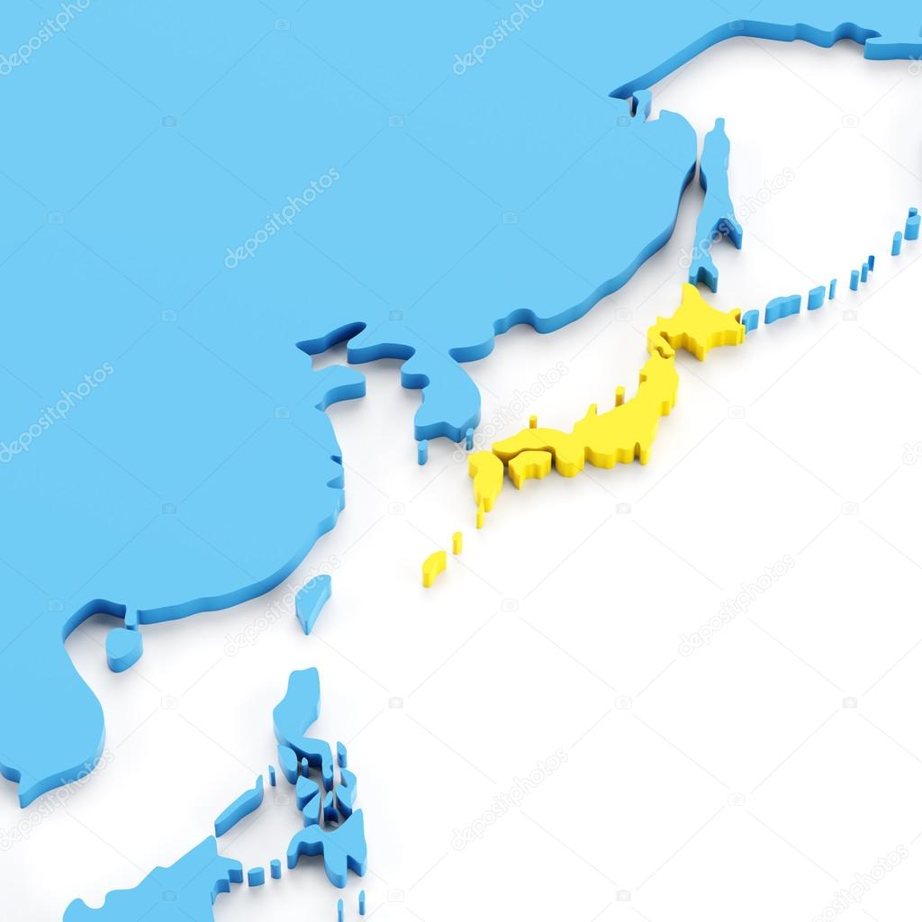 Map of japan stock photo ymgerman 97256056 map of japan highlighted in yellow 3d render white background photo by ymgerman gumiabroncs Gallery