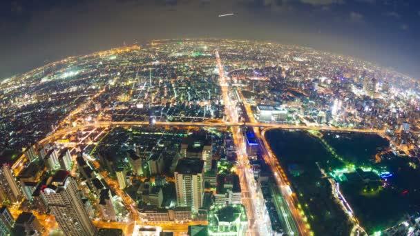 Timelapse video Osaka v Japonsku v noci, letecký pohled