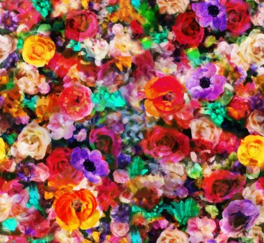 Colorful flowers to the effect of oil painting