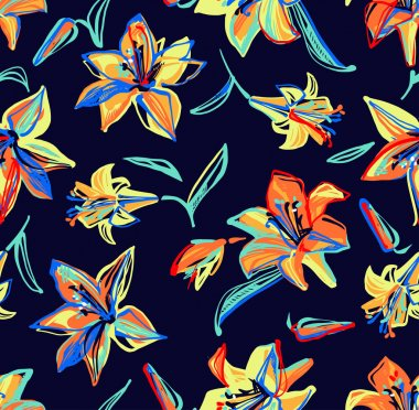 Bright multicolored lily painted lines on a blue background