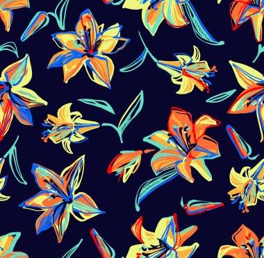 """Картина, постер, плакат, фотообои """"яркие разноцветные линии лилии, раскрашенные на синем фоне """", артикул 63637711"""