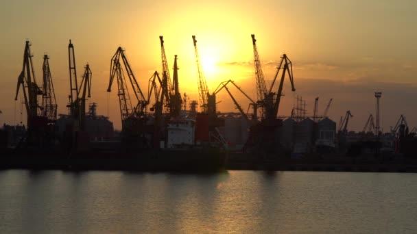Jeřáby v přístavu svítí slunce
