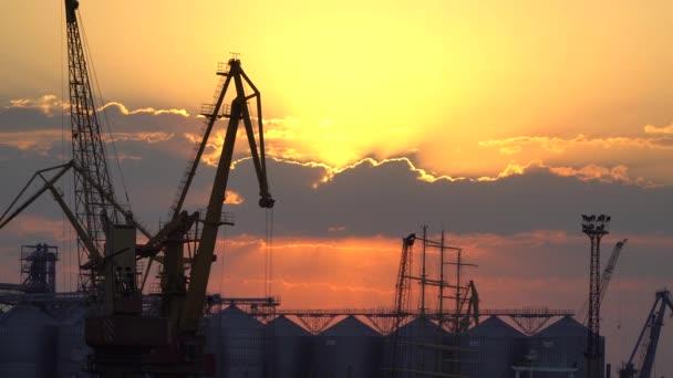 Kräne im Hafen vor dem Hintergrund des Sonnenuntergangs
