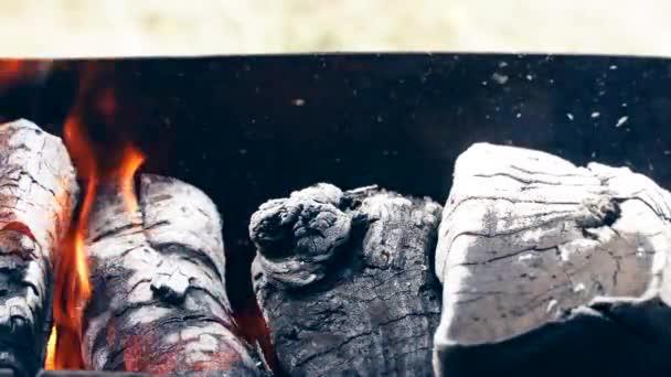 Hořící oheň gril na dřevěné uhlí
