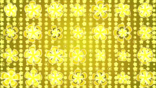 Rotating flowers. background yellow