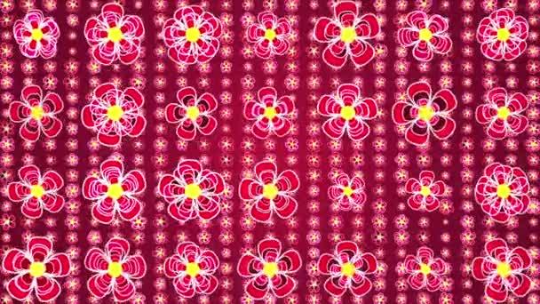 Rotující květiny. červené pozadí