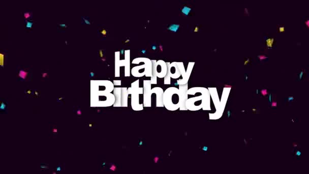 animated closeup happy birthday text on holiday background