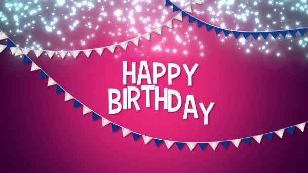 animated closeup happy birthday with colourful garland text on holiday background