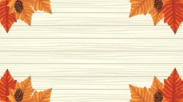 Ahoj podzimní animace s listovým kruhovým snímkem 4k animované
