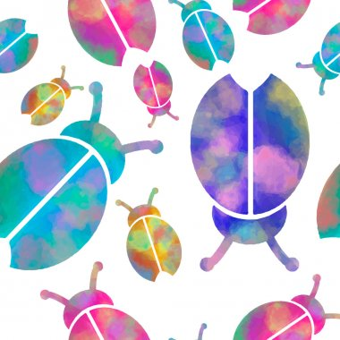 Vector watercolor seamless pattern with colorful bugs