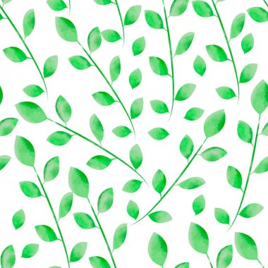 Hand painted watercolor  leaves seamless floral pattern vector background. Elegant floral seamless pattern with green leaves and branches. Vector watercolor drawing. Floral decor clip art vector