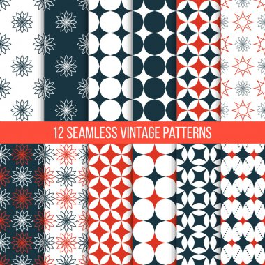 Vector seamless vintage patterns set