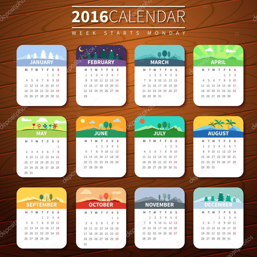 Vector calendar template 2016