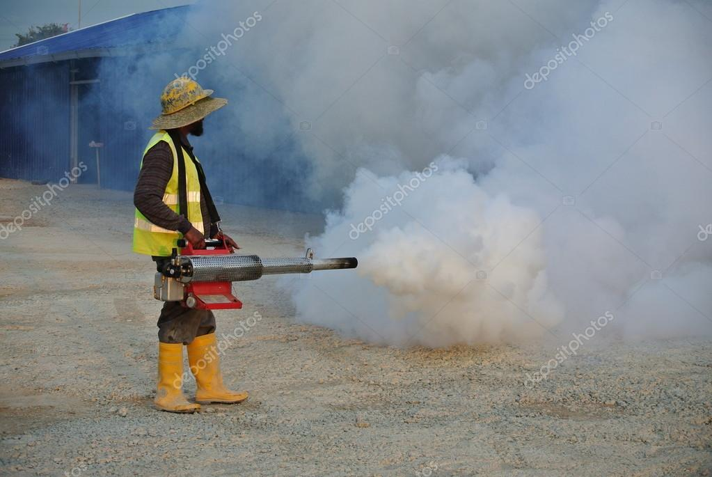 Corporation Workers Ened In Carrying Out Anti Mosquito Fogging The City On Thursday