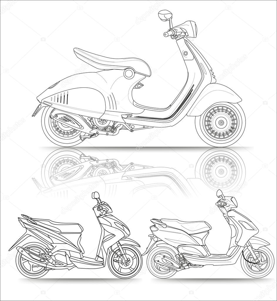 Scooter Matic Motocycle Black And White Vector Illustratin Lineart