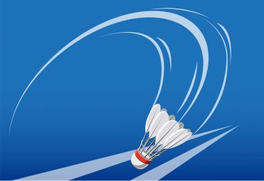 Shuttlecock curved drift and fall - Illustration