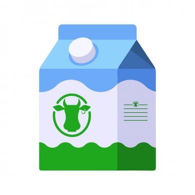 Colorful Vector milk icon. Flat style template of milk package in white, blue and green colors icon
