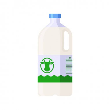 Colorful vector milk plastic container icon. Flat style template bottle of milk in white, blue and green colors icon