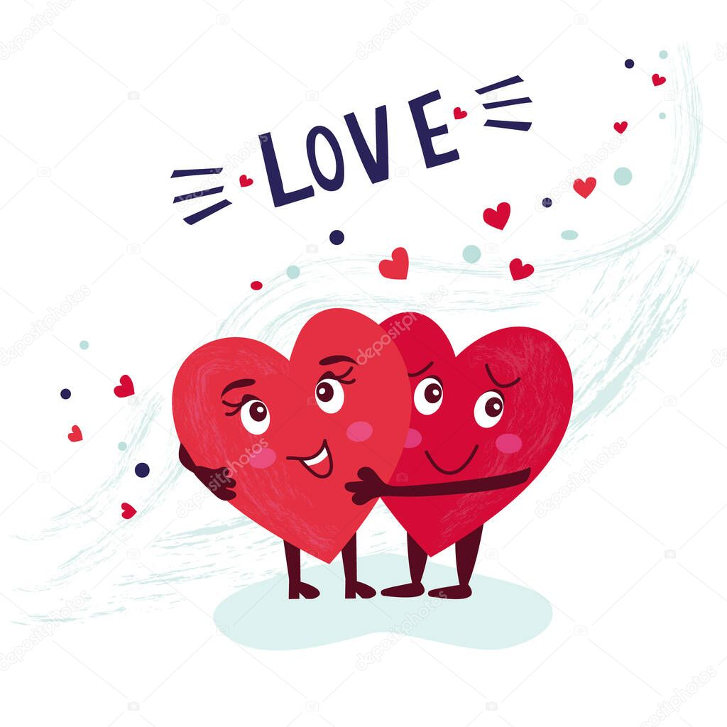 The concept of love. Two lovely hearts hugging. Vector romantic card for the recognition of your feelings. Valentine's Day. icon