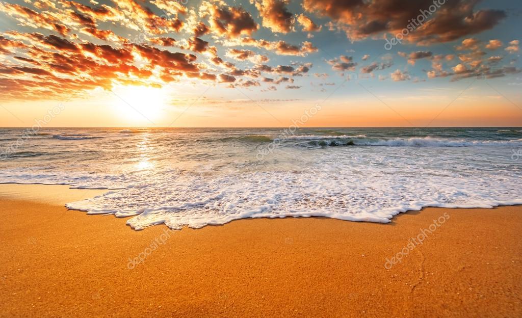 Colorful ocean beach.