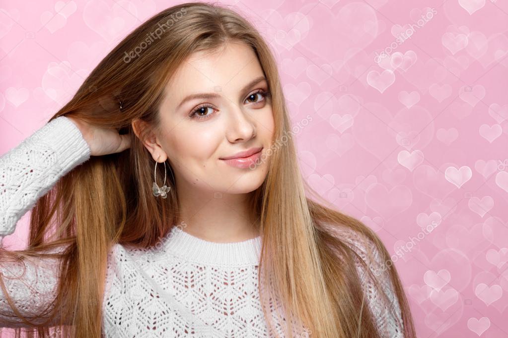 Sweet Blonde Woman Smiling Winking Valentines Day Heartshaped Bokeh Background Joyful Stock