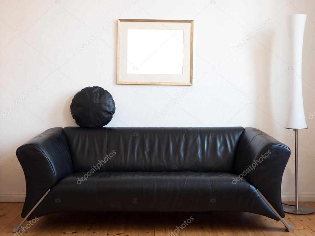 Schwarzen Sofa Im Wohnzimmer U2014 Stockfoto