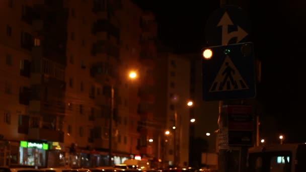 Éjszakai Crosswalk jel villog