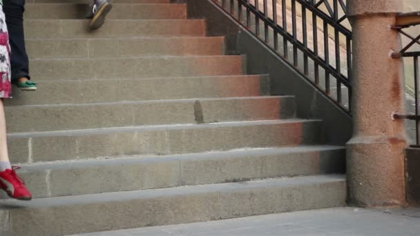 Lidé a psi sestupně schodiště
