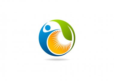 Fitness logo, natural leaf human sun icon