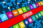 Fotografie Sponsor-Konzept-Bild mit Geschäfts-Ikonen und Exemplar