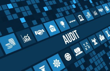 Audit concept image with business icons and copyspace.