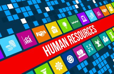 Human resources concept image with business icons and copyspace.