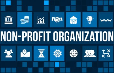 Non-profit organization  concept image with business icons and copyspace.