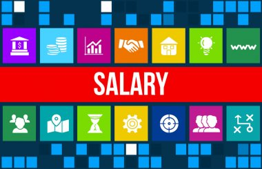 Salary concept image with business icons and copyspace.