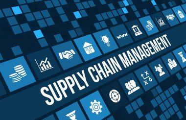 Supply chain management concept image with business icons and copyspace.