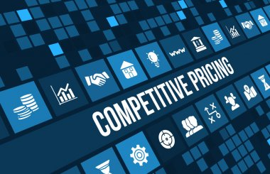 Competitive pricing concept image with business icons and copyspace.