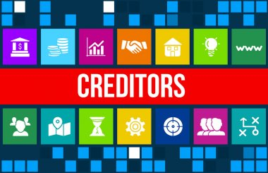 Creditors concept image with business icons and copyspace.