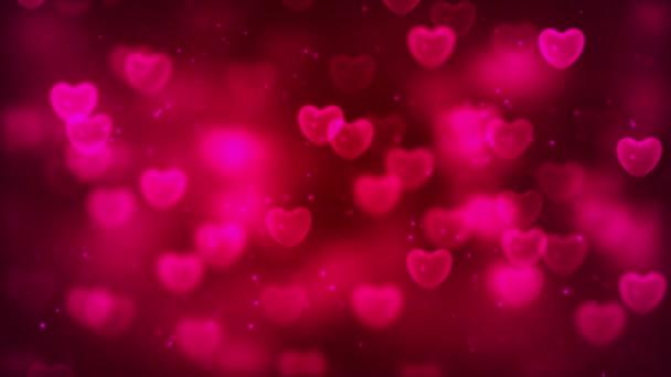 Krásné růžové srdce plovoucí s prachovými částicemi - 3D animace