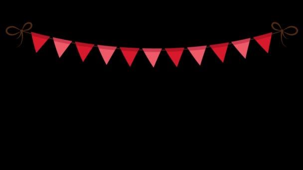 Vörös Karnevál Garland zászlókkal ikon elszigetelt fekete háttér. - Statikus lövés.