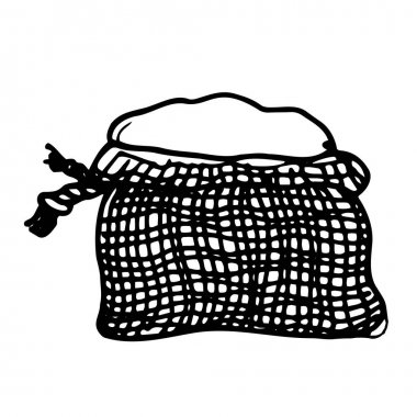Black and white hand-drawn isolated sack. Vector. icon