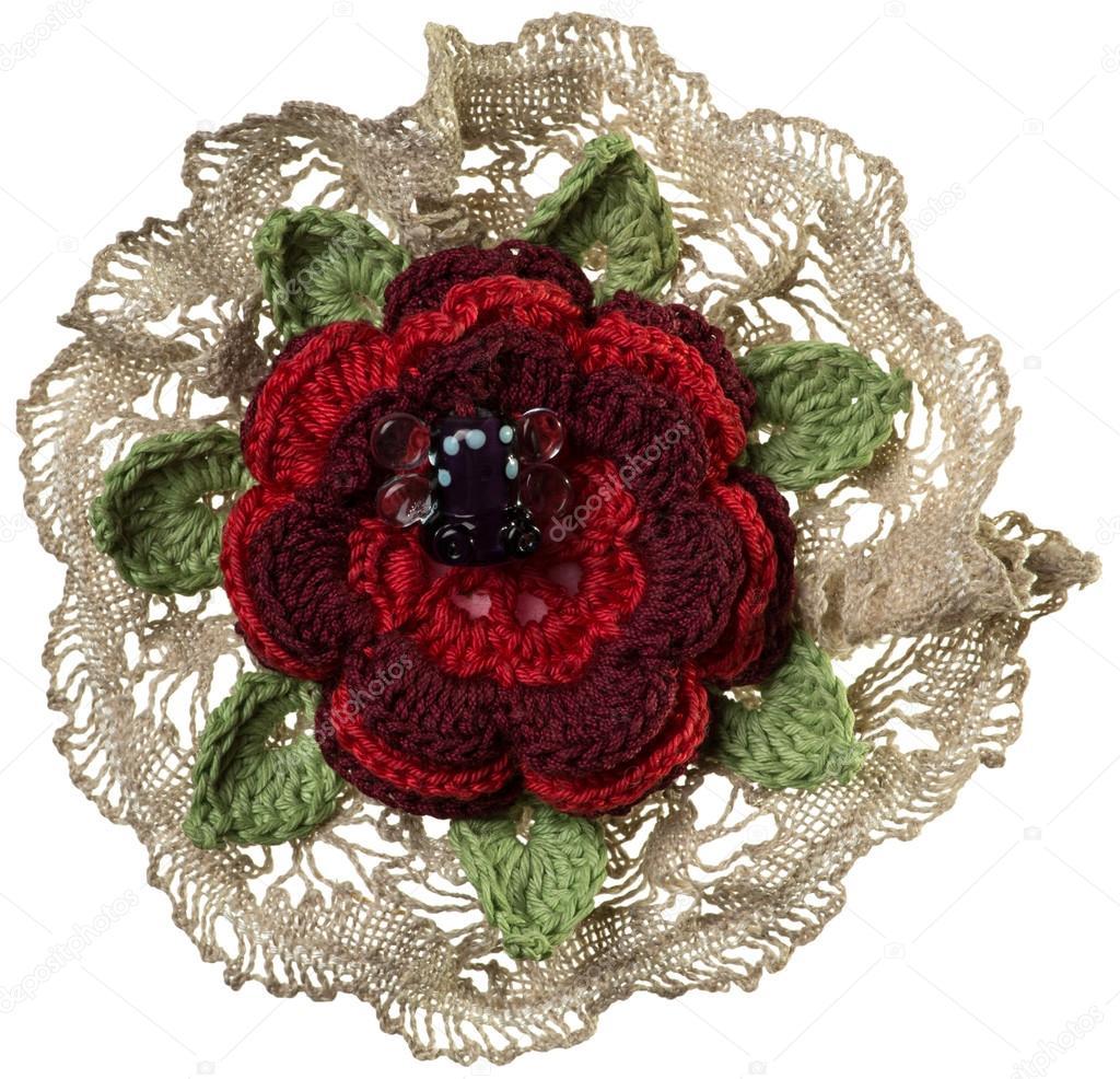 Knitted flower brooch — Stock Photo © maksim_e #104333660