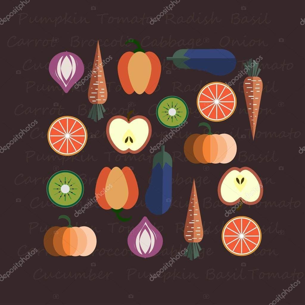 Fruits & Vegetables vector illustration, logo design, concept of healthy food, can be used for restaurant menu